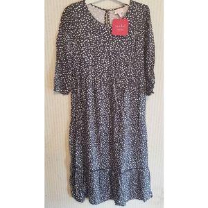 Maternity Dress Spotted Gray Tie Back Medium